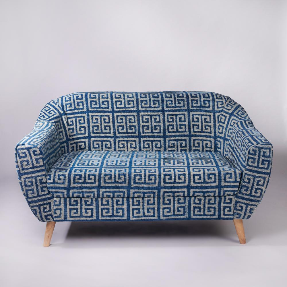 Maze Patterned 2-Seater Loveseat,Sihasn, Rajasthan Dhurrie, Sofas-Couches